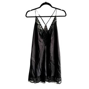 IN BLOOM Vintage Black Silky Mini Chemise  Size XL
